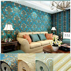 10M VINTAGE LUXURY GOLD DAMASK EMBOSSED FLOCK TEXTURED NON-WOVEN WALLPAPER ROLL