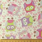£1 SALE! PINK | Fat Quarter Square FQ | Fabric 100% Cotton | Owl Flower PRECUT!