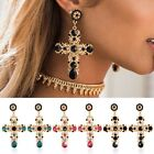 Women Vintage Baroque Style Luxury Crystal Gold Cross Large Long Dangle Earrings