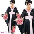 Womens Japanese Geisha Kimono + Belt Adult Fancy Dress Oriental Around The World