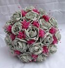 Wedding Posy - Silver Grey Roses with Hot Pink  Pearled Baby's Breath Brides