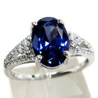 STYLISH 3 CT TANZANITE OVAL CUT 925 STERLING SILVER RING SIZE 5-10