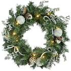 2ft Pre-Lit Wreath Christmas Decoration White LED Lights Frosted Silver Flowers