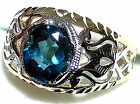 Men's Unique London Blue Topaz 2 Tone Ring