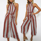 UK Womens Holiday Playsuit Sleeveless Ladies Jumpsuit Summer Striped Pants +Belt
