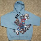 Marc Ecko Men Urban Tattoo Graphic Embellished Club Blue Hoodie Jacket MSRP$68.