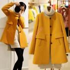 Lady's Autumn Korean Loose Round collar single-breasted coat wool blend Jacket