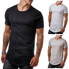EightyFive EF1168 Herren T-Shirt Basic Regular Long Rundhals Schwarz Weiß S-XL