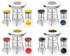 FC567 VINTAGE GAS GARAGE AUTO SHOP THEMED ROUND BAR TABLE & CHROME STOOLS SET