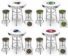 FC508 NFL THEMED CHROME METAL WHITE BAR PUB TABLE SET W 2 SWIVEL SEAT STOOLS