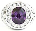 OVAL AMETHYST DIAMOND RHODIUM PLATED STERLING 925 SILVER RING