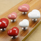 Refined Zinc Alloy Ceramic Door Handle Drawer Cabinets Cute Hole Red Handles