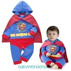 Baby Boy Superman 2PCS Long Sleeves One Piece Jumpsuit + Cape Costume Size 0,1,2