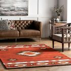 Kyпить nuLOOM Handmade Southwestern Geometric Wool Area Rug in Burnt Orange Wine Color на еВаy.соm