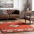 nuLOOM Handmade Southwestern Geometric Wool Area Rug in Burnt Orange Wine Color