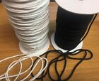 "Внешний вид - Cotton Drawcord 1/8"" Round Braided Drawstring Cord- Black or White 5 yards"