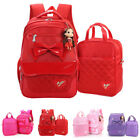 2017 Kid girl backpack cute shoulder bag schoolbag bookbag packbag bow knot 2pcs