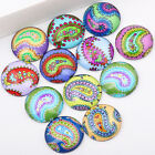 DIY mixed round dome paisley pattern photo glass cabochon 20mm 20pcs
