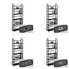 FC823 NFL TEAM THEME BLACK FINISH METAL 5 TIER BOOK UTILITY SHELF DISPLAY CASE