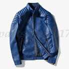 New Men's Slim fit jacket stand collar Biker Motorcycle Leather Jacket Black