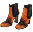 Women Retro Orange Real Leather Chunky Heel Side Zipper Ankle Boot Winter Shoes