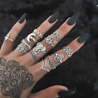 13PCS Punk Vintage Women Knuckle Rings Tribal Ethnic Hippie Stone Joint Ring Set