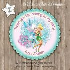 TINKERBELL & PERIWINKLE PARTY PERSONALISED SCALLOP CIRCLE GLOSS STICKERS X 12