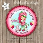 STRAWBERRY SHORTCAKE PERSONALISED ROUND SCALLOP CIRCLE GLOSS PARTY STICKERS X 12