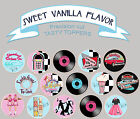 50s retro diner Fifties Birthday Party Wafer cupcake cake Toppers Cup Cake