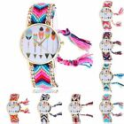 Gift Womens Braided Weaved Heart Dream Catcher Wrist Watch Bracelet Ladies