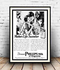 Milk of Magnesia : Vintage advertising , Wall art , poster, Reproduction.
