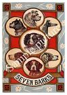 Seven Barks: Vintage Dog theme trade card , Wall art , poster, Reproduction.