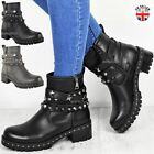 Womens Ladies Ankle Boots Chunky Stud Biker Grip Sole Strappy Shoes New Size