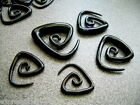 1 PAIR Black Acrylic Spiral Tribal Hanger Ear Plugs Tapers Expander-Gauges #C