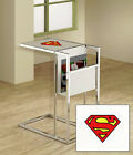 TV Tray Novelty Comic Book Theme Slide Under Couch Glass Shelf and Magazine Rack
