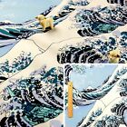 BLUE Meter/Fat Quarter/FQ Cotton Fabric Japanese The Great Wave off Kanagaw WIDE