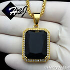 "18-36""MEN Stainless Steel 3mm Gold Box Chain Necklace Black Onyx Pendant*GP103"