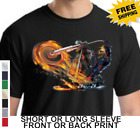 Biker Ghost Rider Custom Chopper Classic Motocycle Flames New Mens T Shirt