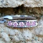 .925 Sterling Silver Ring CZ Band Kids Midi Pink Baby Ladies Size 1-6 New b36