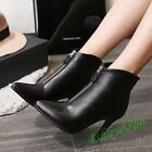 Sexy Pointed Toe Lady Ankle Boots Stilettos Heel Prom Fashion Front Zip Shoes