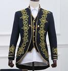 men's embroidery floral gold military stage show jacket suit 3PC coat vest pants