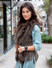 Fashion Vest 100% Knitted Farm Real Rex Rabbit Fur Waistcoat Vest Gilet Outwear