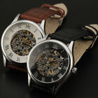 Newest Manly Dial Central Hollow Silver Shell Genuine Leather Watch 0R