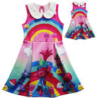 US Stock Lovely Girls Poppy Trolls  Sleeveless Party Holiday Birthday Dress O68 image