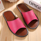 Summer Womens Girls Indoor Slippers Genuine Leather Soft Anti-Slip House Shoes