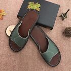 Cool Summer Beach Womens Cow Leather Slippers House Home Thin Flat Red Sandals
