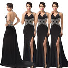 Women Halter Backless High-Split Ball Gown Lady Evening Pageant Prom Party Dress