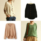 Fashion Women's Patch Grid Short Sweater Jacket Cardigan Coat Knitted Outerwear