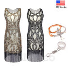 1920s Flapper Dress Cocktail Party Great Gatsby Art Deco Sequins Tassels Dresses
