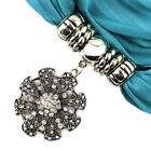 New Yarn Soft Thin Pashmina Jewelry Scarf with Flower Pendant Charms